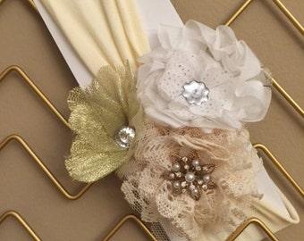 Vanilla Cream- jersey cotton knit headband in cream, gold and white