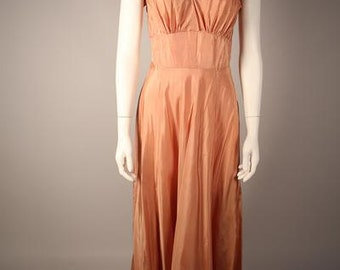 1970s Coral Flutter Sleeve Gown