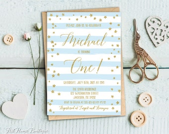 First Birthday Invitation, Boys First Birthday Invitation Blue and Gold,  1st Birthday Boys Striped Invitation, #F04