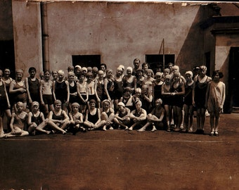 Vintage Photo - Children photo - YMCA - Prewar sports camp - Vintage Snapshot - Polish Photo - Prewar swimsuit - Cracow - 1930s photo