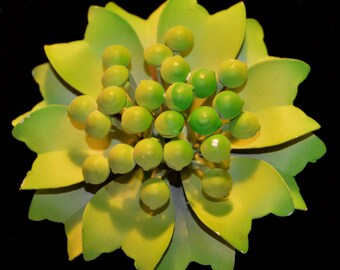 Vintage Light Green Flower Enamel Brooch