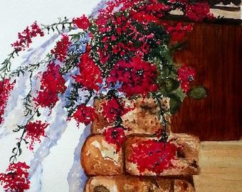 Red Italian flower, original watercolor painting, gift