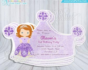Invitaciones princesa Sofia la primera fiesta cumple corona tiara cumpleaños sophia sophie party tarjetas únicas corona tiara vestido