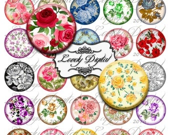"1.5"" Digital Download Rose Circles Jewelry Charm Bottlecap Scrapbook Embellishment Printable Collage Sheet"