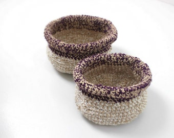 2 crocheted baskets