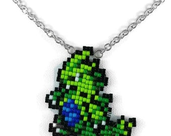 Tyranitar Necklace - Pokemon Necklace Pokemon Jewelry Pixel Necklace Video Game Necklace 8bit Jewelry Geeky Gifts Anime Necklace
