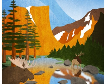 Rocky Mountain National Park Vintage Style Travel Poster