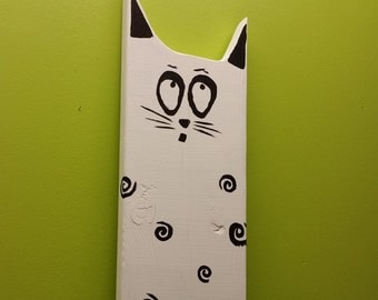 Cat Art Handmade on Reclaimed Wood wall decor