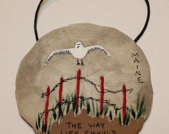 Maine Seagull - Sand Dollar Ornament