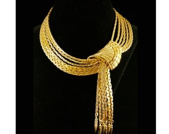 Vendome 1960's Runway Couture Bolder and Gold Line Fan, Tassels Necklace