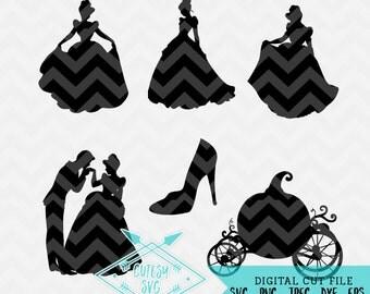 Cinderella Silhouettes - Disney Inspired Digital file, Silhouette Studio, SVG, DXF, PNG, Cricut Cutting, Vinyl, Princess, Daughter,