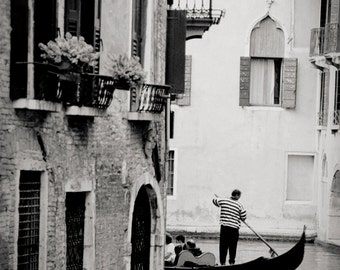 gondola around corner, Venice, Italy 2001.