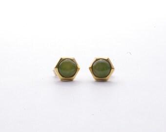 Vintage 14K Yellow Gold Jadeite Stud Earrings