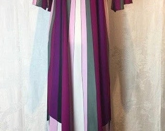 76. SOLD - VINTAGE Mel NORTMAN- Purple Striped Dress