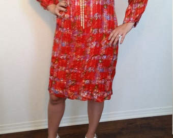 60s 70s Red Dress. Asian Inspired floral Dress. Turtle Neck dress. Rayon. Knee Length. Size Medium.