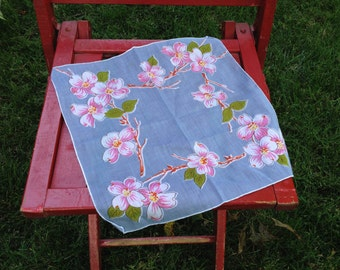 Vintage Periwinkle Floral Hankie, Blue with White and Pink Blossoms Hanky
