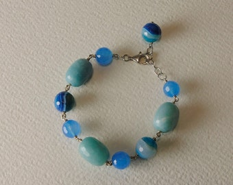 Bracelet in Amazonite, agate and Sterling Silver Clasp 925%