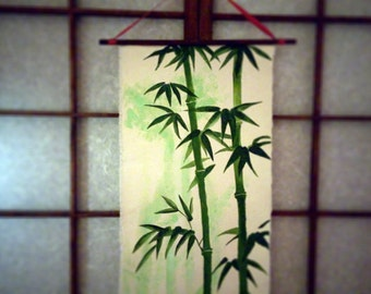 Bamboo scroll hand painted