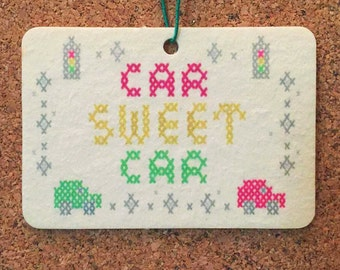 "Quirky Cross Stitch Car Freshener - Vanilla Scent - Artist Designed - ""Car Sweet Car"""