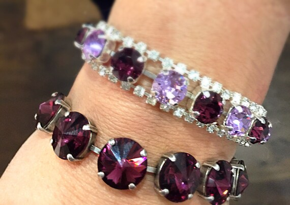 Stunning statement bracelet adorned with colorful purple amethyst Swarovski crystals that provide plenty of eye-catching sparkle.