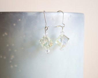 Light Yellow Crystal Dangle Earrings