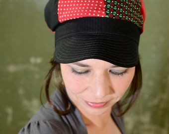 Red black cap, one of a kind, size 56-57 cm