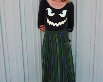 Vintage Fringe Midi Wool Wrap Skirt