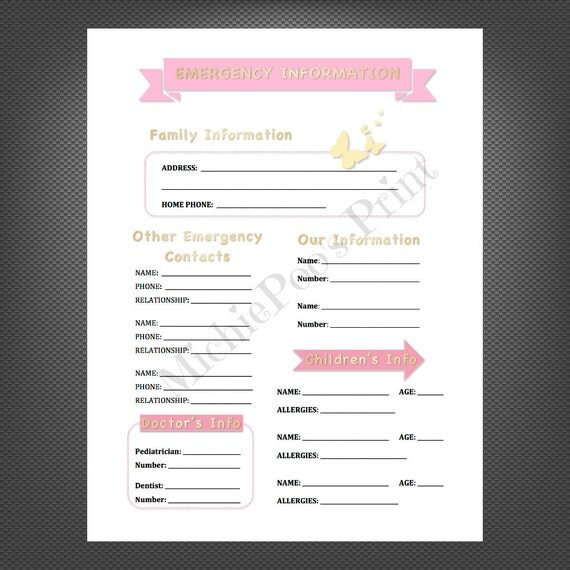 Pink and Gold: Emergency Contact Form