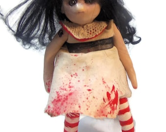 OOAK Goth Art Doll -Creepy Cute  bloody polymer clay Doll -  Handmade Doll