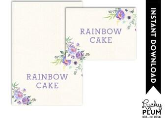 Unicorn Food Card / Woodland Food Card / My Little Pony Food Card / Horse Favor Food Card / Purple Flower Food Tent / Star Food Tent