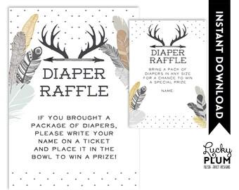 Deer Diaper Raffle / Boho Diaper Raffle / Tribal Diaper Raffle / Feather Diaper Raffle / Aztec Diaper Raffle / Black Diaper Raffle