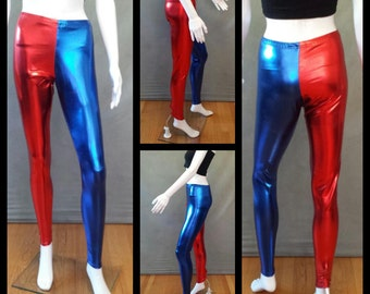 MADE TO ORDER Harley Quinn Suicide Squad Inspired Red and Blue Metallic Leggings