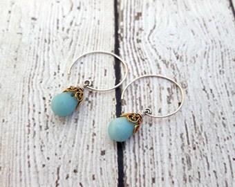 Amazonite Teardrop Earrings, Sterling Silver Gemstone Earrings, Gifts for Her, Gemstone Jewelry, Birthstone Jewelry, Blue Earrings