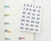 Calendar number, dates, days, hand drawn, doodle, numbers - perfect for your bullet journal, DAT3