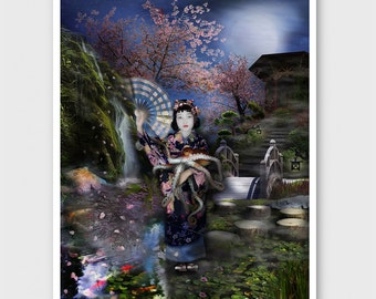 Mizuko In Her Octopus Garden art print