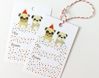 Pug Gift Tags - Pug PartyPack of 10 with Twine, Gift Tag Set, Cute Pug Tags, Gift Tags, Cute Gift, Stocking Stuffer, Birthday Party Gift Tag