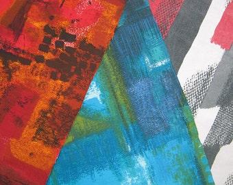 3 Original Vintage Fabric Remnants - Original Francis Price 60s  designs