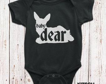 Baby Deer Baby Bodysuit   Dear Baby   Baby Hunter Bodysuit    Matching Family Tshirts   Deer Hunter   New baby Gift   Baby and Kids   AR-115