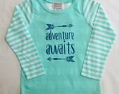 Adventure Awaits Girls Mint Striped Shirt with Appliqu�...