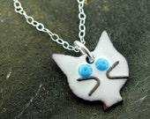 Cat Necklace, black or white glass enameled cat pendant