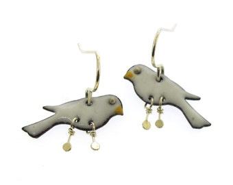 White Bird Earrings, enameled bird earrings, bird jewelry, small earrings by Kathryn Riechert