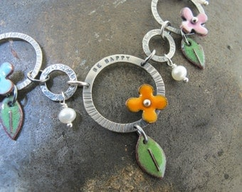 Leaves and Flower Necklace  - glass enamel over copper with pearls by Kathryn Riechert