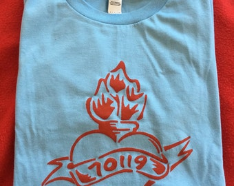 70119 Mid-City New Orleans neighborhood t-shirt flaming heart light blue red