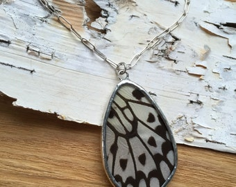 Real Black and White Butterfly Necklace - real paper kite wing