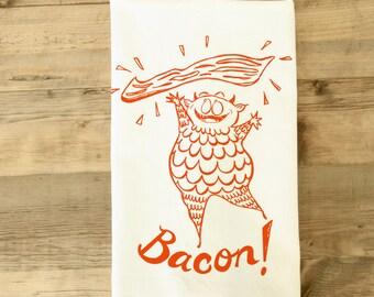 Bacon Monster Orange Striped Tea Dish Towel