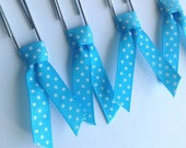 Blue planner clips, Ribbon bible clips, set of 4 paper clips, book page marker, ribbon bookmarks, planner acessories, teacher gift, pc016