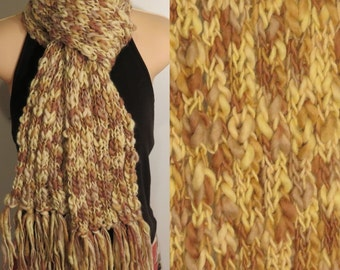 Hand Made Knit Wool Scarf yellow tan brown chunky