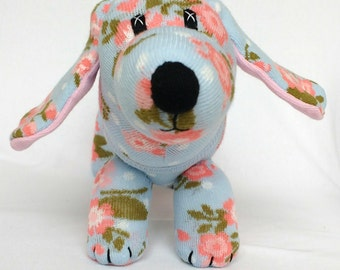 Sock sausage dog soft toy , daschound, weiner dog puppy Shabby chic floral