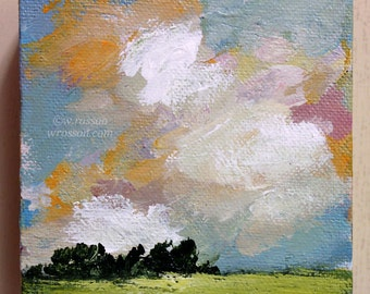 Colorful Cloudscape Painting, Original Painting,  Small Painting, Landscape, Tree and Clouds, Winjimir, Home Decor, Office Decor, Wall Art