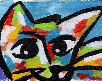 Trixie the Cat,  Cat Painting, Colorful, Art, Original Painting, Small Paintings, Cat, Portrait, Pets,  Whimsy, Dog and Cat, Winjimir